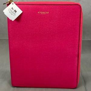Coach Pink Saffiano Leather Zip Around iPad Case